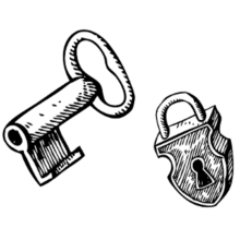 key and padlock drawing