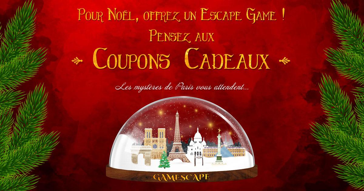 Pour Noël, offrez un escape game ! Pensez aux coupons cadeaux !